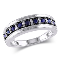 925 Sterling Silver White Gold Plated Round Cut Blue Sapphire Wedding Ba... - $85.50
