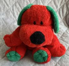 Ty Pluffies Red & Green Dog Jingles Plush Stuffed Animal Tylux 2006 Stit... - $9.89