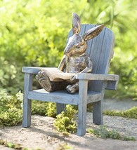 Reading Rabbit Outdooor Yard and Garden Resin Animal Statue 5¾ L x 6 W x... - $51.27