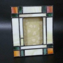 """Mission Style Stained Glass Tabletop Picture Frame Vintage 5.5"""" Tall - $34.64"""