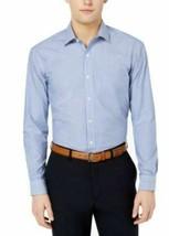Club Room Men's Dress Shirt Blue Size 18 1/2 Striped Regular Fit Stretch