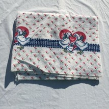 "Geese Ducks Hearts Terry Tablecloth 54"" x 70"" Oblong RA Briggs Cotton - $19.34"
