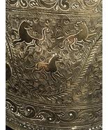 MAMLUK OTTOMAN Syria hand etched Brass scenes vessel QAJAR Antique 1850-1899  - $500.00