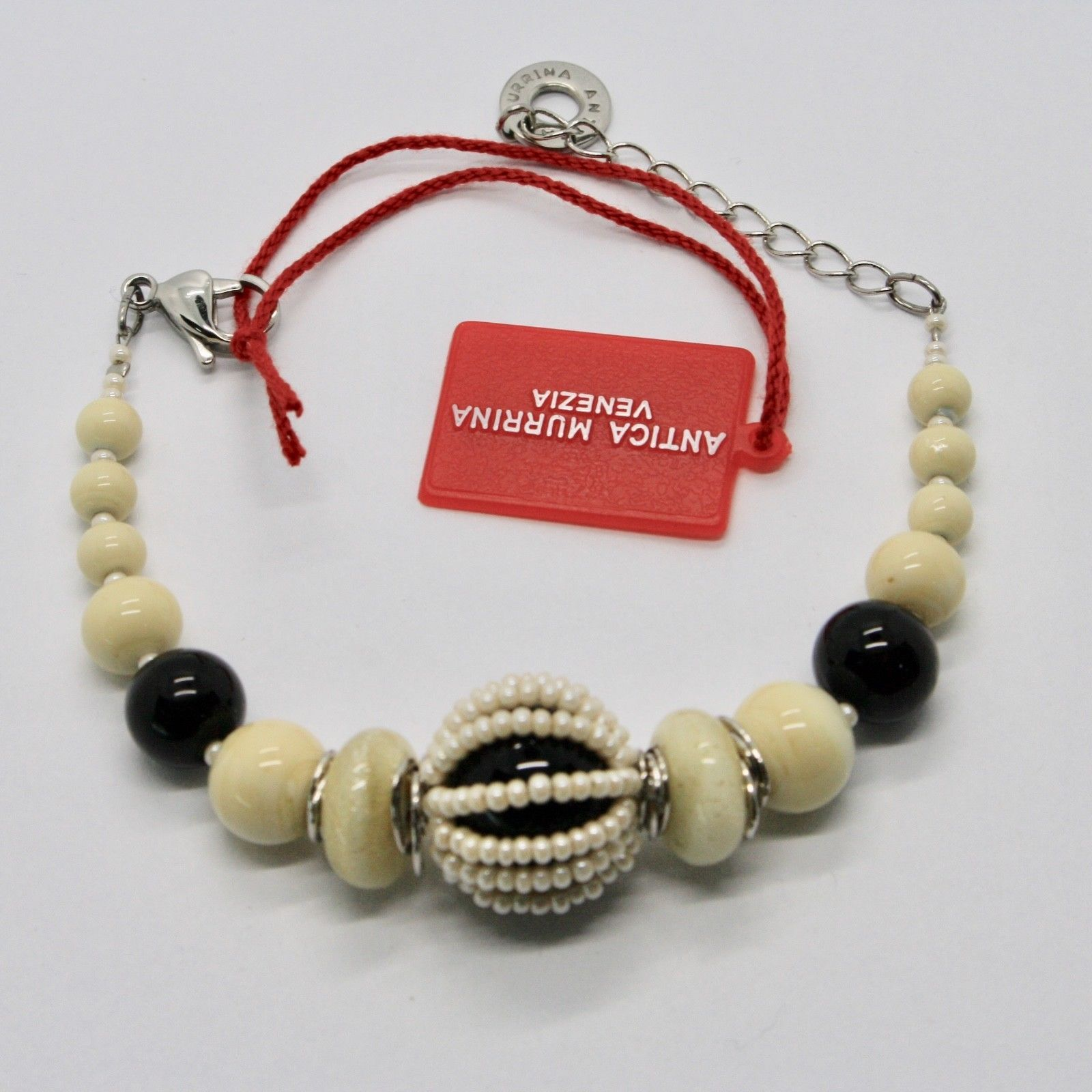 BRACELET ANTICA MURRINA VENEZIA WITH MURANO GLASS BLACK CREAM BEIGE BR742A02