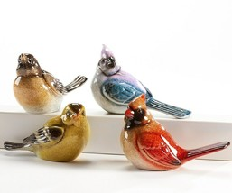 Set of 4 Bird Figurines - Cardinal, Blue Jay, Yellow Bird, Home Garden Decor NEW image 2