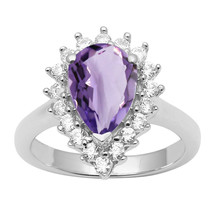 Pear Cut Amethyst & White Topaz Gemstone 925 Silver Halo Cocktail Weddin... - $27.32