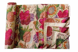 Cotton Floral Print Kantha Quilt Indian Twin Blanket Throw Bohemian Beds... - $37.73