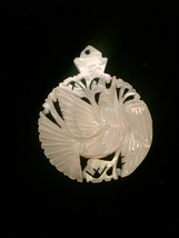 Vintage 60s carved dove mother of pearl pendant image 1