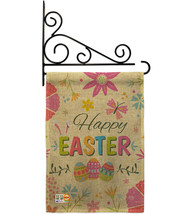 Happy Easter Colourful Flowers Burlap - Impressions Decorative Metal Fansy Wall  - $33.97