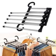 Wardrobe Organizer Adjustable 5 Poles Trousers Tie Belt Hanger Clothes H... - $10.84