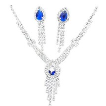 3 Pcs Women's Necklace & Earrings Set Luxury Rhinestone Decor Waterdrop ... - $12.99