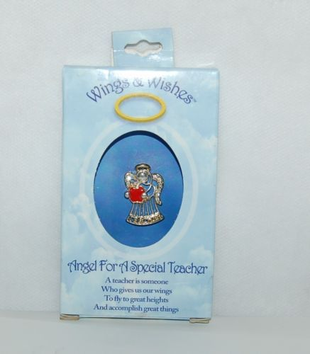 Wings Wishes WGWTCH Silver Colored Teacher Gold Accents Red Apple Clear Crystals