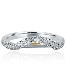 0.30 Ct Diamond Wedding Curve Design Band Anniversary Ring 18k White Gold - €770,15 EUR