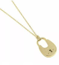 Michael Kors Cityscape Hardware Gold Padlock Long Necklace MKJ4633710 NI... - $74.99