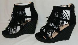 BF Betani Shiloh 8 Black Fringe Wedge Heel Sandals Size 7 image 3