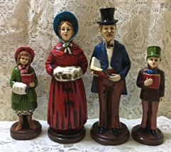 Vintage Victorian Look Paper Mache' Family of 4 Christmas Carolers Holid... - $20.00
