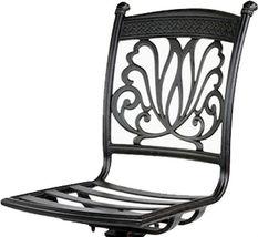 Patio bar stool arml-ess cast aluminum patio furniture sunbrella seat cushions image 3