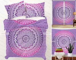 Purple Ombre Mandala Queen Tapestry + Curtains + Duvet Set + Bedsheet Pi... - $84.14