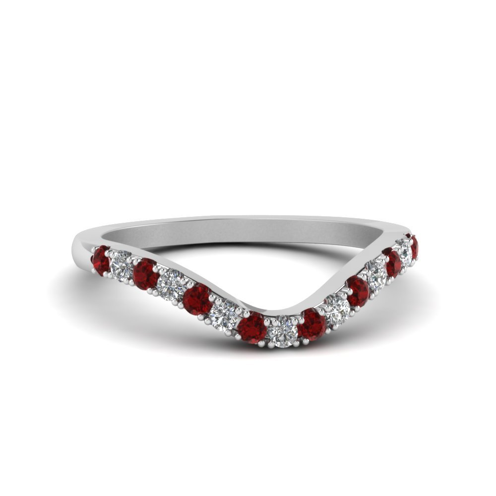 Primary image for Custom Red Ruby & CZ Diamond 14K White Gold FN Curved Wedding Band Ring