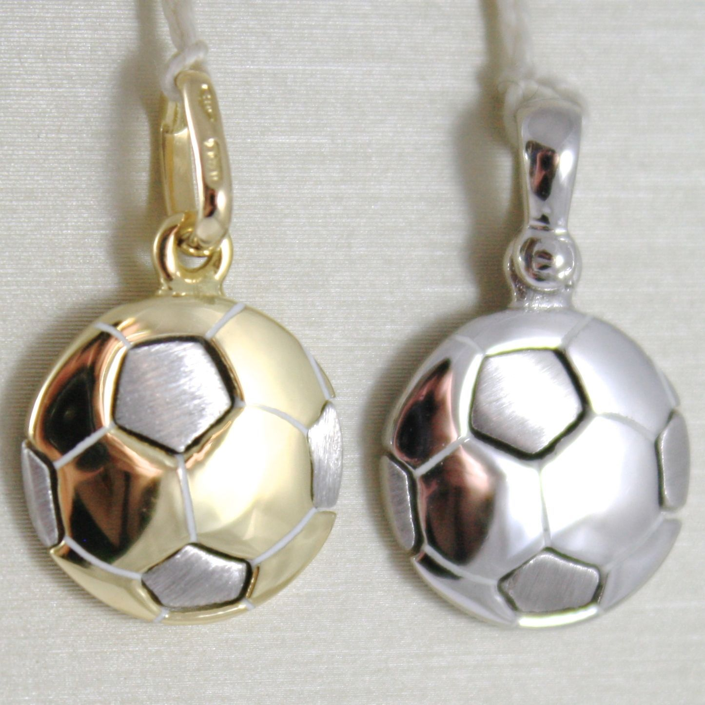 PENDENTIF EN OR JAUNE OU BLANC 750 18K,PALLONE DU FOOTBALL,SOLIDE,MADE IN ITALY