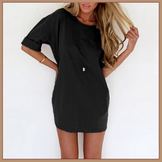 Loose Tunics Nine Solid Colors Short Sleeved Long Pullover Tank Top Shirt Dress