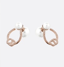AUTH Christian Dior 2020 ROSE GOLD CD LOGO CRYSTAL HOOP PEARL EARRINGS  image 2