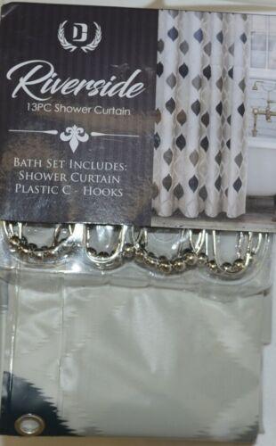 Riverside Thirteen Piece Shower Curtain Geometric Pattern