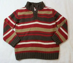 Gymboree Boys Sweater Sz 3 4 Brown Red Stripe Half Zip Pullover Mountain Lodge - $17.59