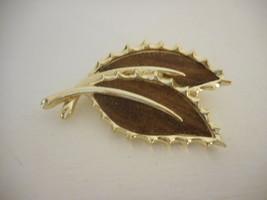 Vintage Sarah Coventry Leaf Goldtone and Wood  like Brooch  - $14.84
