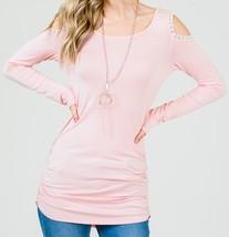 Pink Cold Shoulder Top, Pink Ruched Side Top, Lace Trim Cold Shoulder Top image 2