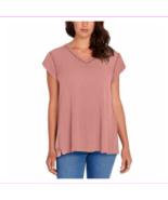 Buffalo women Slit At Side Straight Hem V-neck cap sleeves Tops L/Salmon... - $29.99