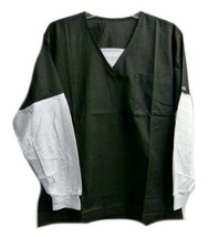 Fashion Scrub Top S Black Gray V Neck Flagstaff Uniforms Accent Medical New - $19.37