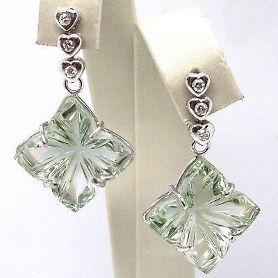 Drop Earrings in 18k White Gold, Diamonds, Prasiolite, Hearts, Flowers