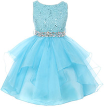 Flower Girl Dress Sequin Lace Top Ruffle Skirt Turquoise MBK 357 - $43.56+