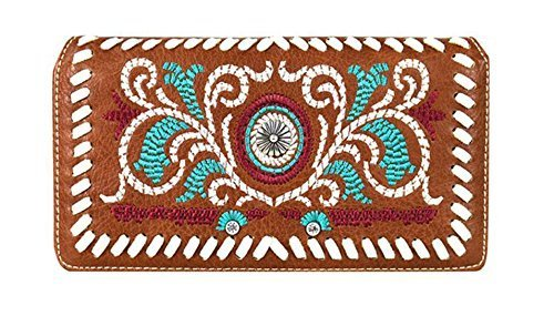 Western Embroidered Concho Wallet Clutch Purse (Brown)