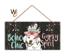 Labrador Retriever Sign, Boho Chic Gypsy Spirit, 5x10 Wood Dog Sign, Dar... - $11.39
