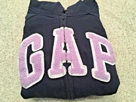 Girl's Gap Kids Zippered Hooded Navy Sweatshirt/Jacket With Lavender Logo (S) image 5