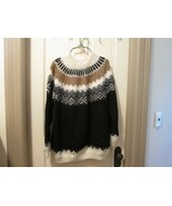 Vintage soft Alpaca Americanas Peru Black Wool Nordic Fair Isle sweater ... - $70.00