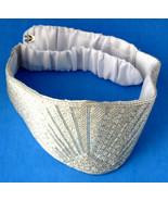 Belt 1970s Disco Satin Beaded Belt White Sunrise Adjustable Silver Cryst... - $20.00