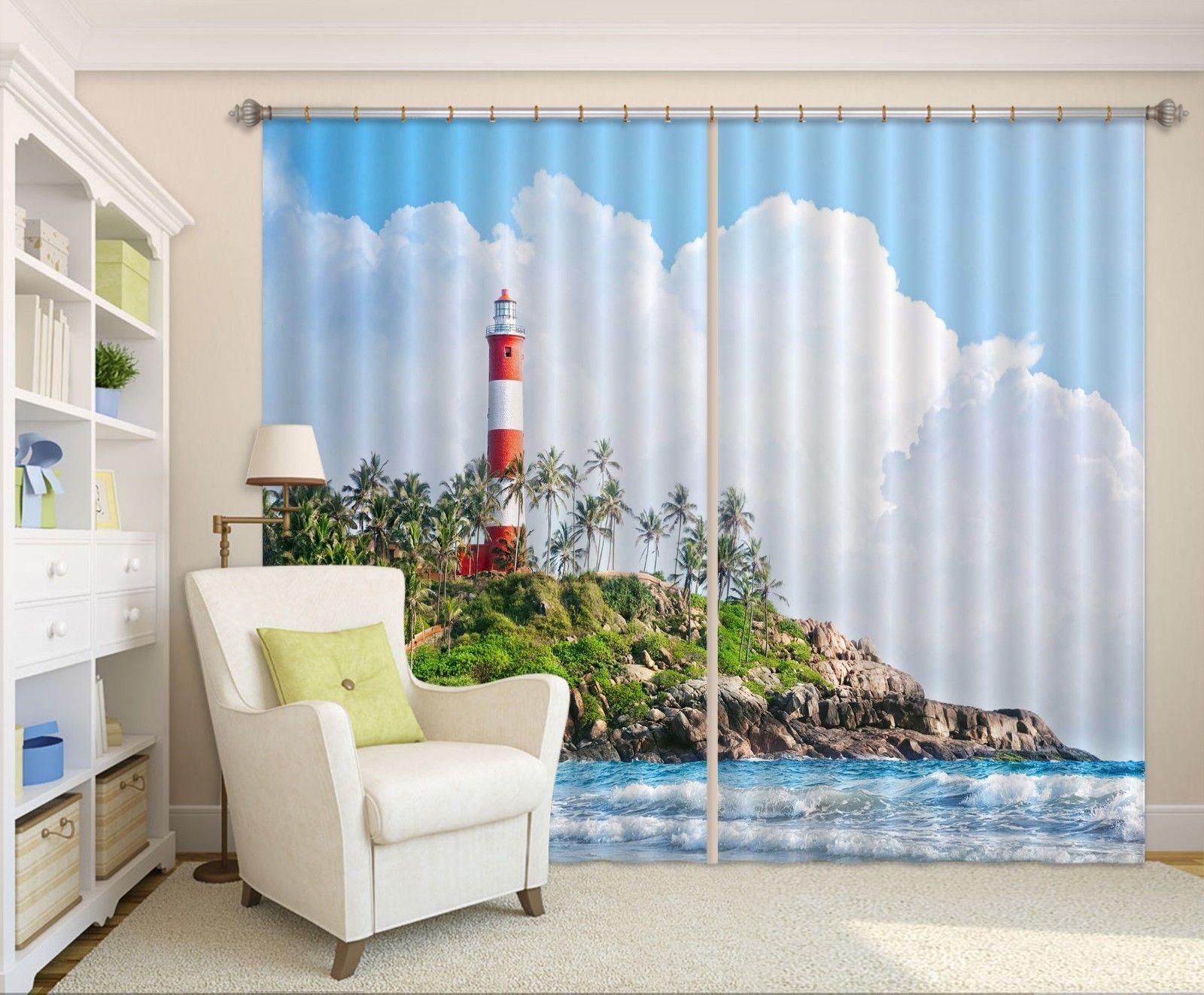 3D White Clouds Tower 01 Blockout Photo Curtain Print Curtains Drapes US Lemon - $177.64 - $467.49