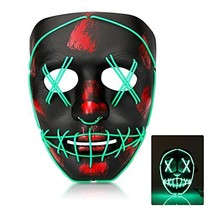 Halloween Purge Mask, Led Light Up Glowing Scary Mask with EL Wire for (... - £12.18 GBP