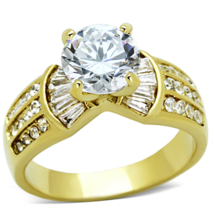 EBAY GOLD TONE STAINLESS STEEL 2 CT BRIDAL CZ ENGAGEMENT RING SIZE 6, 7 - $24.74