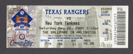 2004 TEXAS RANGERS vs YANKEES 5/22 Full Unused Ticket BERNIE WILLIAMS HR... - $4.95