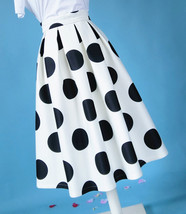White A-Line Polka Dot Midi Skirt High Waisted Polka Dot Party Skirt Plus Size image 5