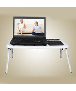 Laptop Lap Desk E-Table Bed Foldable Table With USB Cooling Fans Stand T... - $20.55