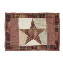 ABILENE STAR Hand-quilted Placemats Set of 6 - Burgundy/Tan/Brown - VHC Brands