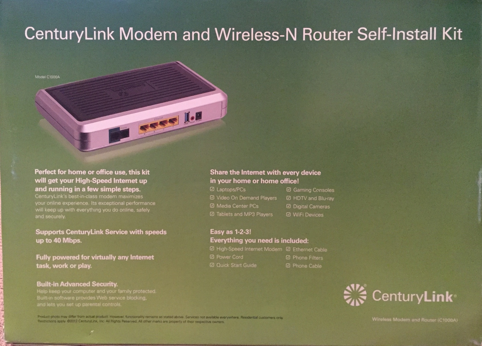 Actiontec CenturyLink C1000A 802.11N Wireless N Router Gigabit Modem Sealed