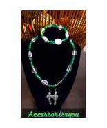 GLASS BEADED NECKLACE, BRACELET AND EARRINGS - $15.00
