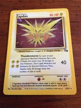 Pokemon Card - Fossil 15/62 - ZAPDOS (holo-foil) - NM/Mint Not played - $10.97