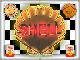 Shell Gas Station Clamshell Simulated Neon Design Banner Sign Large Art 4' X 3' - $52.16